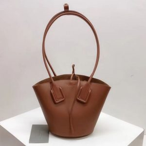 Replica Bottega Veneta Small Basket Tote Bags Brown French Calf Leather