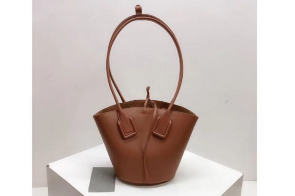 Replica Bottega Veneta Small Basket Tote Bags Brown French Calf Leather