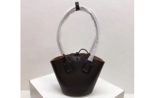 Replica Bottega Veneta Small Basket Tote Bags Black French Calf Leather