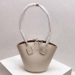 Replica Bottega Veneta Small Basket Tote Bags White French Calf Leather