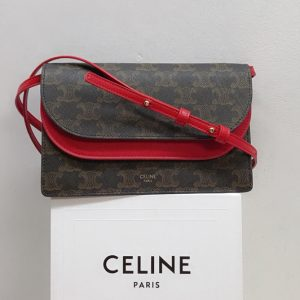Replica Celine 10D852 Wallet on Strap in Triomphe Canvas and Smooth Lambskin