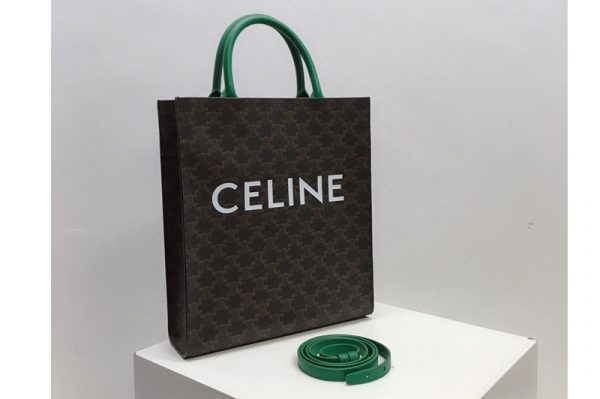 Replica Celine 191542 Small Vertical Cabas in Triomphe Canvas with Celine Print And Green Leather