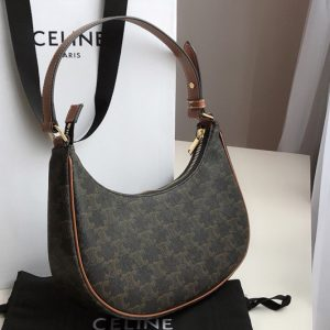 Replica Celine 193952 Ava Triomphe Bag in Triomphe Canvas and calfskin