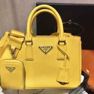 Replica Prada 1BA296 Galleria Small Saffiano Leather Bags in Yellow Saffiano Leather