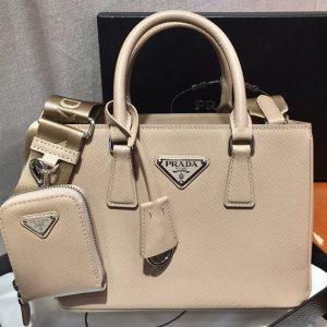 Replica Prada 1BA296 Galleria Small Saffiano Leather Bags in Beige Saffiano Leather