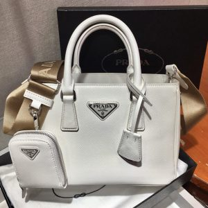 Replica Prada 1BA296 Galleria Small Saffiano Leather Bags in White Saffiano Leather
