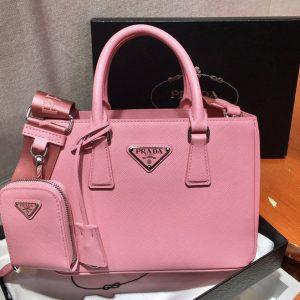 Replica Prada 1BA296 Galleria Small Saffiano Leather Bags in Pink Saffiano Leather