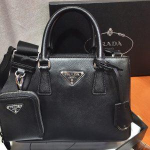 Replica Prada 1BA296 Galleria Small Saffiano Leather Bags in Black Saffiano Leather