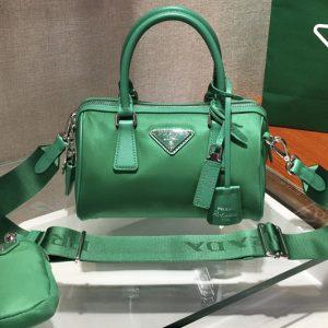 Replica Prada 1BA846 Boston bag in Green Nylon