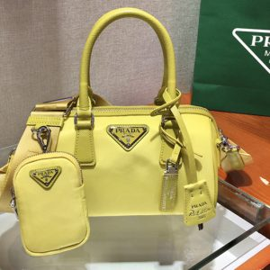 Replica Prada 1BA846 Boston bag in Yellow Nylon