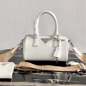Replica Prada 1BB846 Saffiano Leather Boston bag in White Saffiano Leather