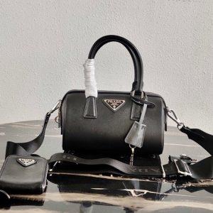 Replica Prada 1BB846 Saffiano Leather Boston bag in Black Saffiano Leather