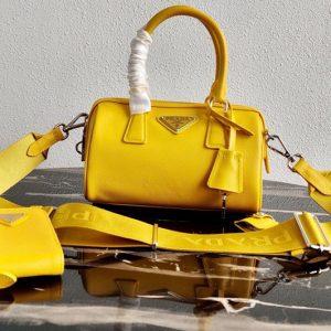 Replica Prada 1BB846 Saffiano Leather Boston bag in Yellow Saffiano Leather