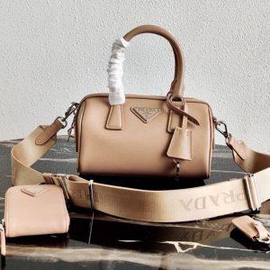 Replica Prada 1BB846 Saffiano Leather Boston bag in Pink Saffiano Leather