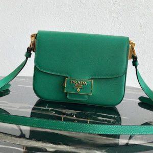 Replica Prada 1BD217 Embleme Saffiano leather bag in Green Saffiano leather
