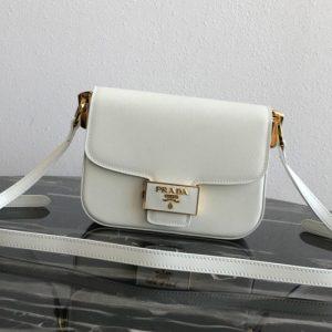 Replica Prada 1BD217 Embleme Saffiano leather bag in White Saffiano leather