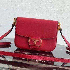 Replica Prada 1BD217 Embleme Saffiano leather bag in Red Saffiano leather