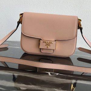 Replica Prada 1BD217 Embleme Saffiano leather bag in Pink Saffiano leather