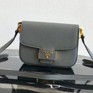 Replica Prada 1BD217 Embleme Saffiano leather bag in Gray Saffiano leather