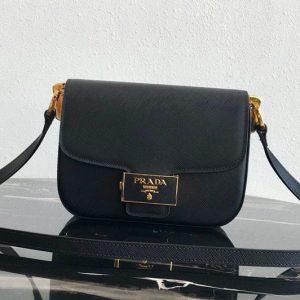 Replica Prada 1BD217 Embleme Saffiano leather bag in Black Saffiano leather