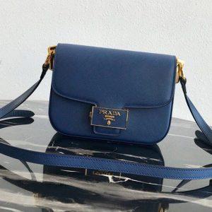 Replica Prada 1BD217 Embleme Saffiano leather bag in Blue Saffiano leather