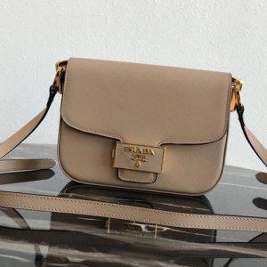 Replica Prada 1BD217 Embleme Saffiano leather bag in Apricot Saffiano leather