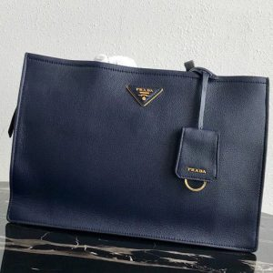 Replica Prada 1BG122 Leather tote Bag in Navy Blue Calf leather