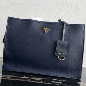 Replica Prada 1BG122 Leather tote Bag in Navy Blue Calf leather