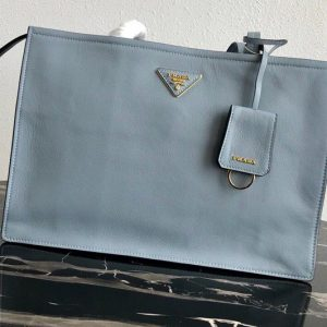Replica Prada 1BG122 Leather tote Bag in Light Blue Calf leather