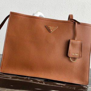 Replica Prada 1BG122 Leather tote Bag in Brown Calf leather