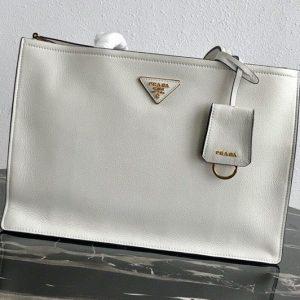 Replica Prada 1BG122 Leather tote Bag in White Calf leather