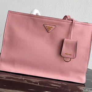 Replica Prada 1BG122 Leather tote Bag in Pink Calf leather