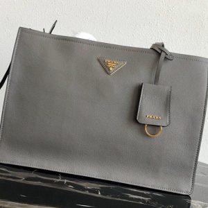 Replica Prada 1BG122 Leather tote Bag in Gray Calf leather
