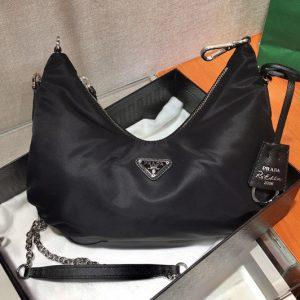 Replica Prada 1BH172 Nylon Hobo Bags in Black Nylon