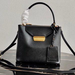 Replica Prada 1BN012 Tote Saffiano Leather Bags in Black Saffiano Leather