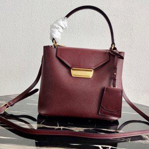 Replica Prada 1BN012 Tote Saffiano Leather Bags in Bordeaux Saffiano Leather