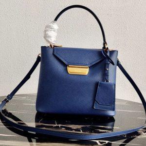 Replica Prada 1BN012 Tote Saffiano Leather Bags in Blue Saffiano Leather