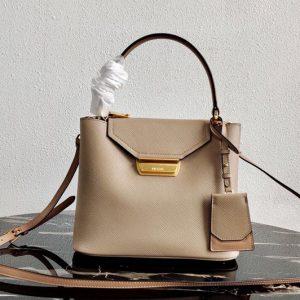 Replica Prada 1BN012 Tote Saffiano Leather Bags in Beige Saffiano Leather