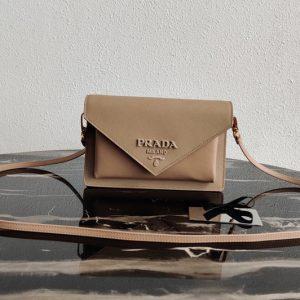 Replica Prada 1BP020 Saffiano leather mini-bag in Apricot Saffiano leather