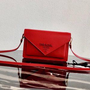 Replica Prada 1BP020 Saffiano leather mini-bag in Red Saffiano leather