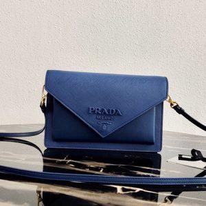 Replica Prada 1BP020 Saffiano leather mini-bag in Blue Saffiano leather