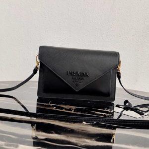 Replica Prada 1BP020 Saffiano leather mini-bag in Black Saffiano leather