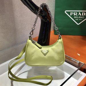 Replica Prada 1TT122 Mini Hobo Bag in Green Nylon