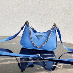 Replica Prada 1TT122 Mini Hobo Bag in Blue Nylon