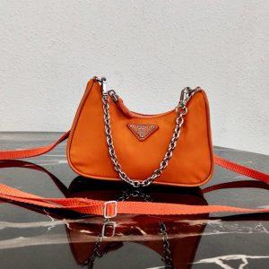 Replica Prada 1TT122 Mini Hobo Bag in Orange Nylon