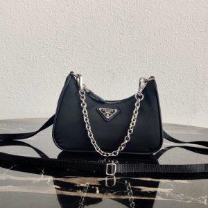 Replica Prada 1TT122 Mini Hobo Bag in Black Nylon