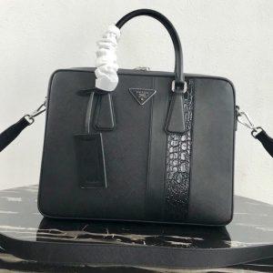Replica Prada 1VE011 Saffiano Leather Briefcase Bag in Black Saffiano leather