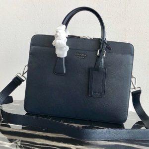 Replica Prada 2VE366 Saffiano Leather Briefcase Bag in Navy Blue Saffiano leather