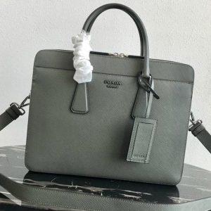 Replica Prada 2VE366 Saffiano Leather Briefcase Bag in Gray Saffiano leather