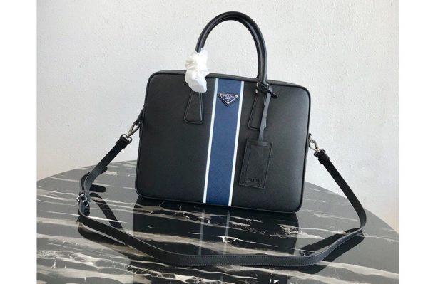 Replica Prada 2VE368 Saffiano Leather Briefcase Bag in Black Saffiano leather With Blue Web